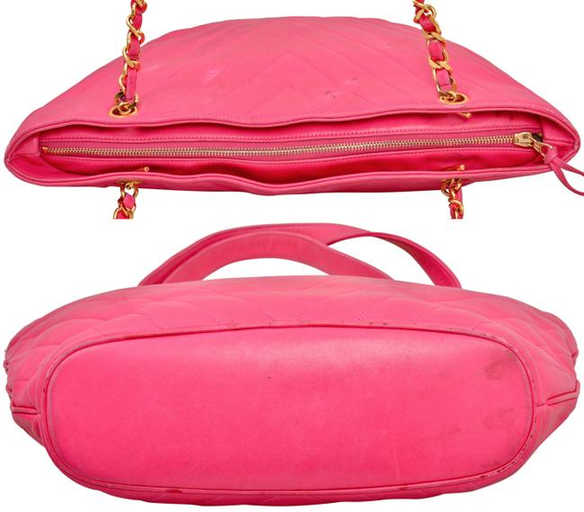 """Chanel 15.25"""" Inch Chevron Quilted with Gold Chains Pink Lambskin Leather Shoulder Bag Chanel 15.25"""" Inch Chevron Quilted with Gold Chains Pink Lambskin Leather Shoulder Bag Image 5"""