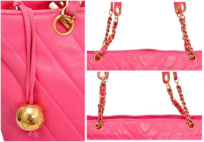"""Chanel 15.25"""" Inch Chevron Quilted with Gold Chains Pink Lambskin Leather Shoulder Bag Chanel 15.25"""" Inch Chevron Quilted with Gold Chains Pink Lambskin Leather Shoulder Bag Image 9"""