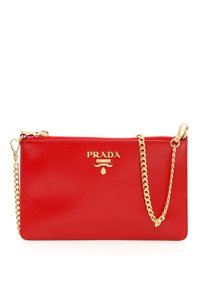 Prada Saffiano Saffiano Chain Wallet Red Clutch