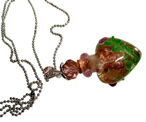 New Blown Murano Glass Pendant Necklace 20 Inch 925 Silver Chain J843