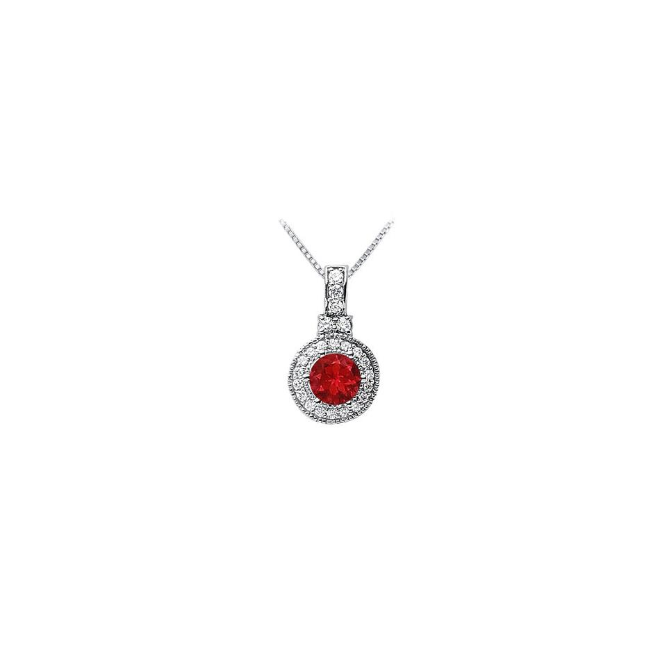 Red Silver Created Ruby and Cubic Zirconia Pendant 925 Sterling 1 50 Ct Tg  Necklace 68% off retail