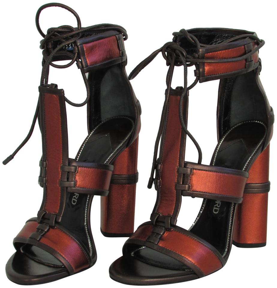 4085286d4703 Tom Ford Metallic Rust Patchwork Cage Sandals Size EU 38 (Approx. US ...