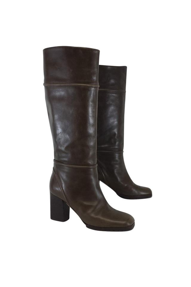 ladies Marni Customer Olive Brown Leather Boots/Booties Customer Marni first 9cd22d
