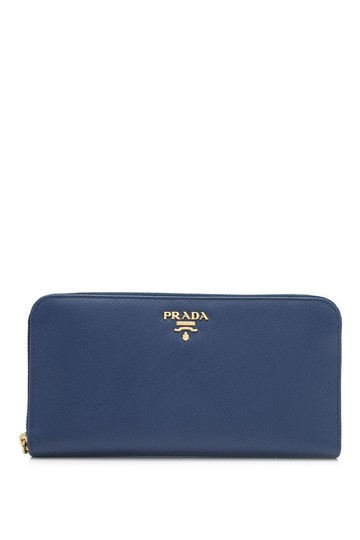 69d1c65e824b Prada Prada Saffiano St. Floral Long Zip Around Wallet Blue Saffiano Leather  Image 0 ...