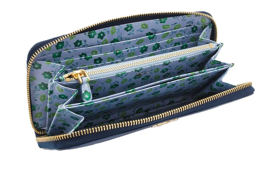 c08447e858cd Prada Prada Saffiano St. Floral Long Zip Around Wallet Blue Saffiano Leather  Image 3. 1234