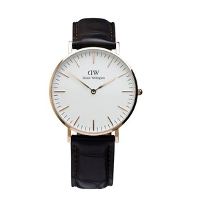 Daniel Wellington 0510DW Women's Black Leather Band with White Analog Dial Watch