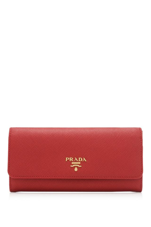 164d1aded01c Prada Prada Saffiano St. Love Long Flap Wallet Red Saffiano Leather Image 0  ...