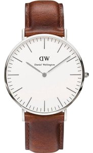 Daniel Wellington 0207DW Men's Brown Leather Band White Dial Analog Watch