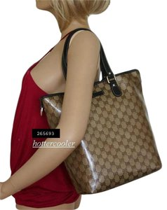 Gucci Crystal Gg Canvas Bucket Tote in Brown/Beige