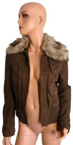 Mango Leather Fur Bomber Suede Brown Jacket