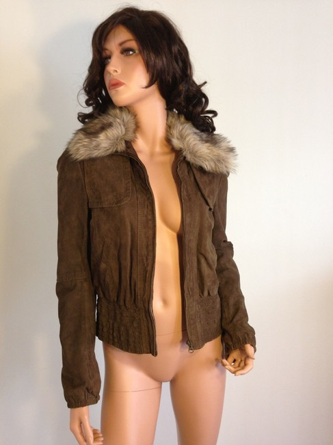 Mango Leather Fur Bomber Suede Brown Jacket Image 1
