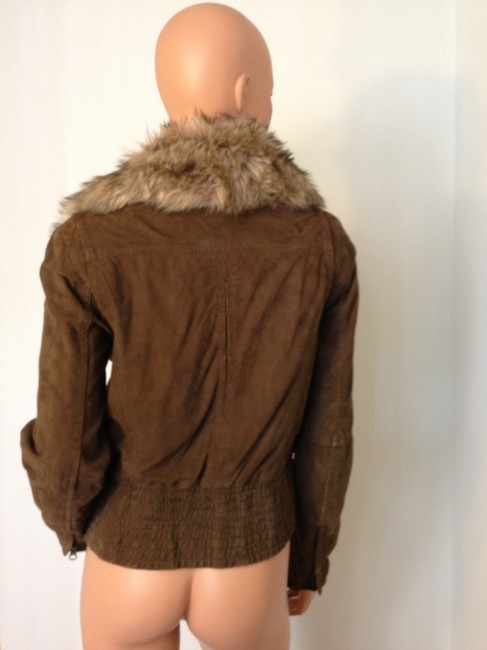 Mango Leather Fur Bomber Suede Brown Jacket Image 3
