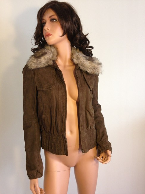 Mango Leather Fur Bomber Suede Brown Jacket Image 4