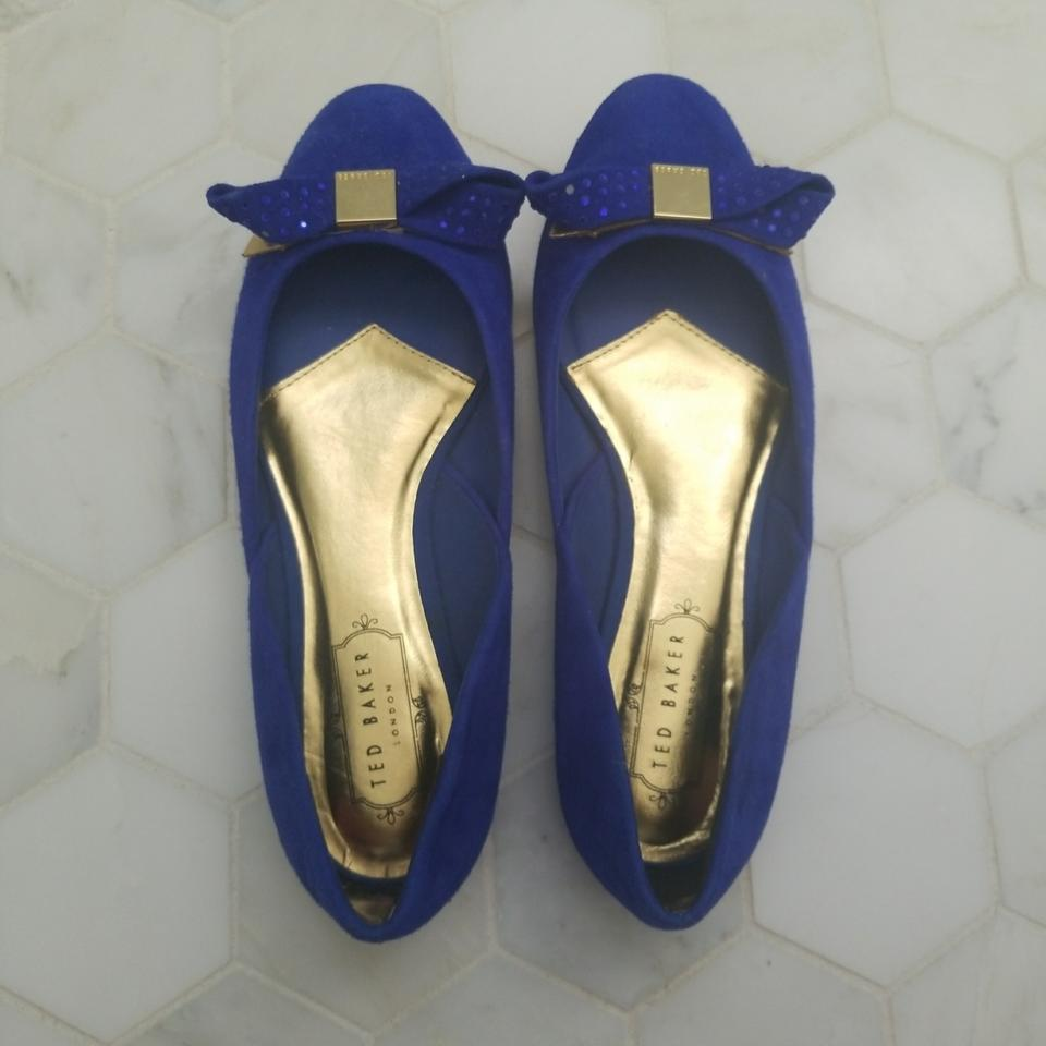 3b1bd99a0272 Ted Baker Blue Round Toe Bow Ballet Flats Size EU 38 (Approx. US 8 ...