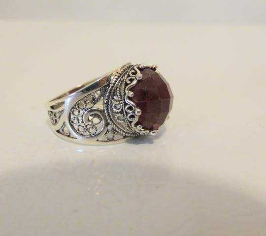 Other Ottoman Silver Jewelry Round Red Corundum Ring Size 8 Image 2