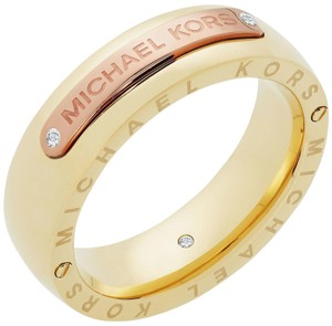 Michael Kors MKJ6391 Michael Kors Two Tone Logo Plaque Band Ring Size 8