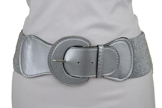 Alwaystyle4you Women Silver Faux Leather Stretch Waistband Fashion Belt Hip Waist Image 2