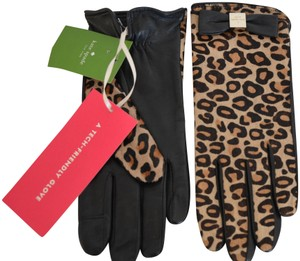 Kate Spade KATE SPADE LEATHER CHEETAH PRINT HAIR CALF BOW LOGO GLOVES 7