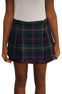 Sara Berman Mini Tartan Lace Mini Skirt Green and Pink Plaid