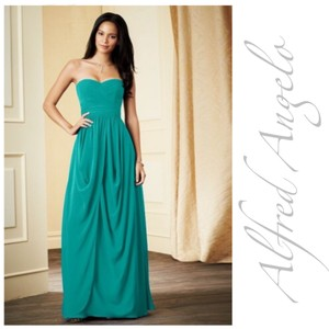 Alfred Angelo Jade Chiffon 7278l Green Prom Strapless Long Modern Bridesmaid/Mob Dress Size 4 (S)