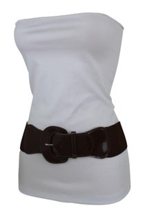 Alwaystyle4you Women Fashion Belt Chocolate Brown Elastic Band Hip Waist Big Buckle