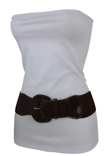 Alwaystyle4you Women Fashion Belt Chocolate Brown Elastic Band Hip Waist Big Buckle Image 0