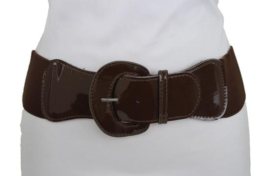 Alwaystyle4you Women Fashion Belt Chocolate Brown Elastic Band Hip Waist Big Buckle Image 2