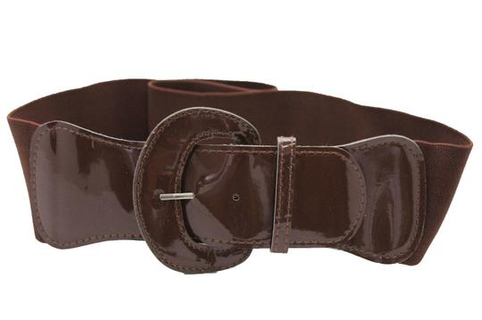 Alwaystyle4you Women Fashion Belt Chocolate Brown Elastic Band Hip Waist Big Buckle Image 3