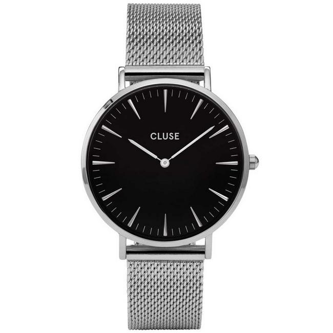Item - Silver Cl18106 Boheme Women's Mesh Band with Black Analog Dial Watch