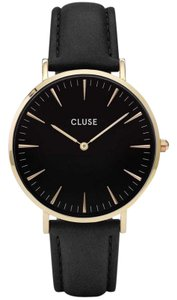 Cluse CL18401 Boheme Women's Black Leather Band With Black Analog Dial Watch