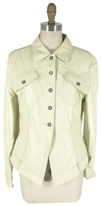 René Lezard Leather Mesh Lined Ivory Jacket