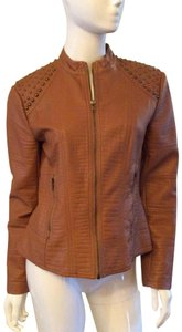 Clare V. With Metal Form Fitting Detail Nice Zipper Front Tan Faux Leather Gold Accents Jacket