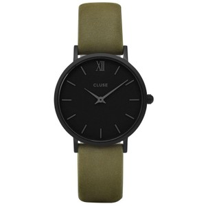 Cluse CL30007 Minuit Women's Green Leather Band With Black Analog Dial Watch