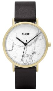 Cluse CL40003 Roche Women's Black Leather Band With White Analog Dial Watch