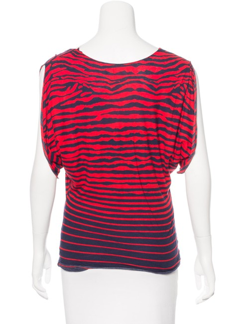 MCQ by Alexander McQueen Striped Batwing Two Layer Top Red Blue Image 1