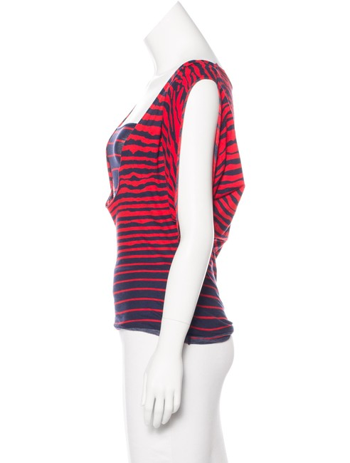 MCQ by Alexander McQueen Striped Batwing Two Layer Top Red Blue Image 2