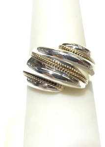 Tiffany & Co. GORGEOUS!! Tiffany & Co. 18 Karat Yellow Gold and Sterling Silver Shrimp Rope Ring