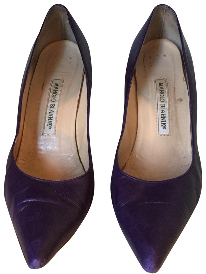 Manolo Blahnik Purple Leather Leather Purple Pump Sandals 066d53