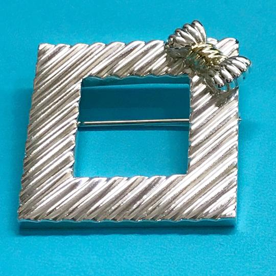 Tiffany & Co. RARE!!! Tiffany & Co. 14 Karat Gold and Sterling Silver Vintage Picture Frame Brooch with Bow Image 2