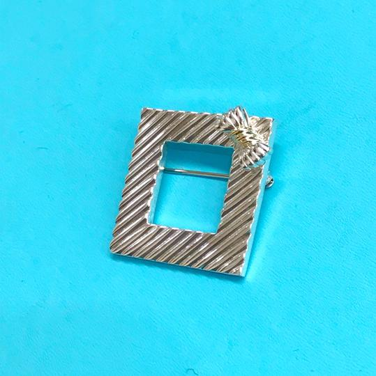 Tiffany & Co. RARE!!! Tiffany & Co. 14 Karat Gold and Sterling Silver Vintage Picture Frame Brooch with Bow Image 5