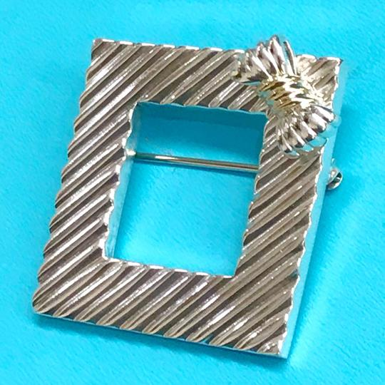 Tiffany & Co. RARE!!! Tiffany & Co. 14 Karat Gold and Sterling Silver Vintage Picture Frame Brooch with Bow Image 6