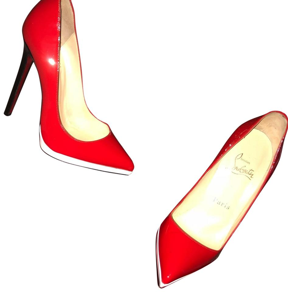 Christian Heel Louboutin with Pumps White Patent and Black Red Detail Leather 1prwUq61