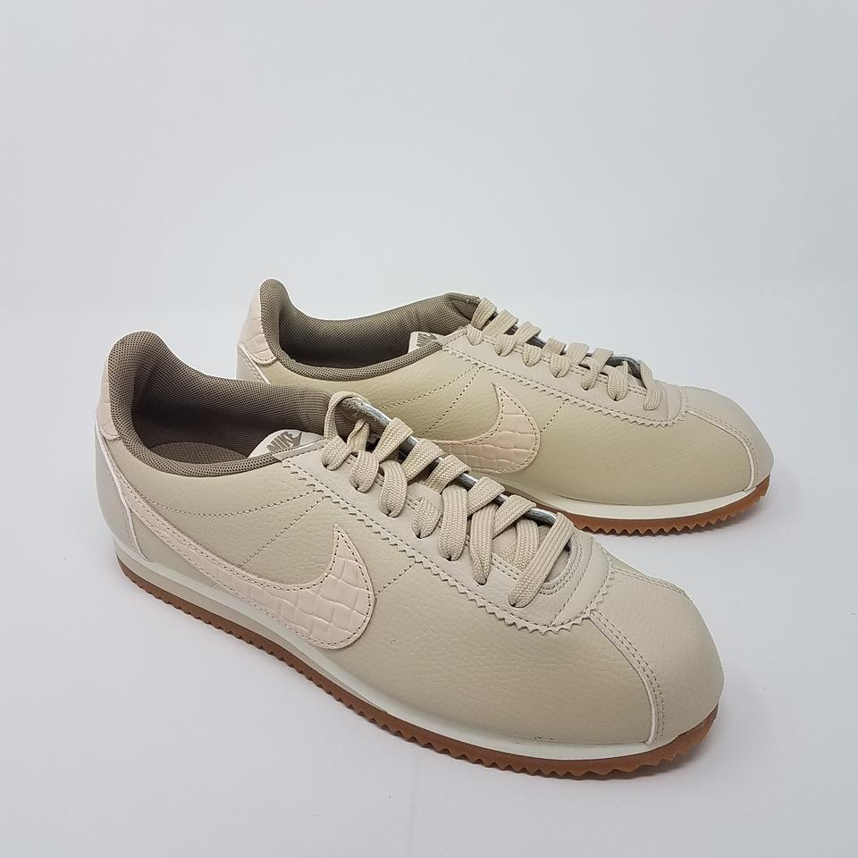 nike beige leather classic cortez low top sneakers. Black Bedroom Furniture Sets. Home Design Ideas