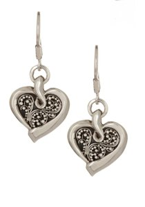 Lois Hill NWT Lois Hill Sterling Silver Granulated Heart Drop Earrings