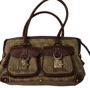 Dooney & Bourke Satchel in khaki logo canvas with brown leather binding and handle