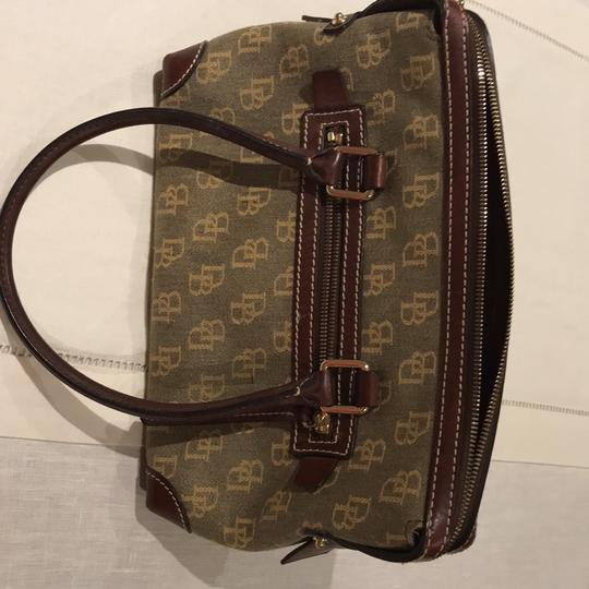 Dooney & Bourke Satchel in khaki logo canvas with brown leather binding and handle Image 2