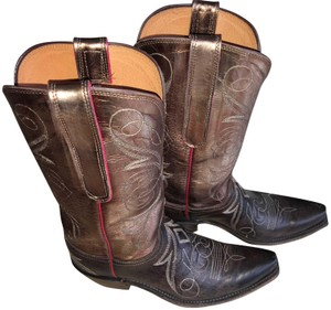 Lucchese Cowboy Women's Leather Made In Usa chocolate BROWN Boots