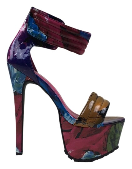 Other Heels Stiletto Color Straps Open Toe multi Platforms