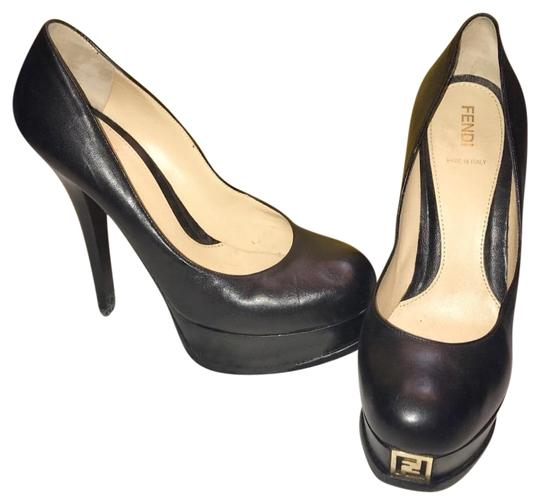 Fendi Platform 38 Gold Black Pumps Image 0