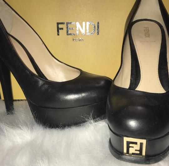 Fendi Platform 38 Gold Black Pumps Image 3